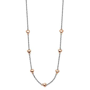 925 Sterling Silver Rh plated and Rose Gold Flashed 7 Love Heart With 1.5inch Ext. Necklace 15 Inch