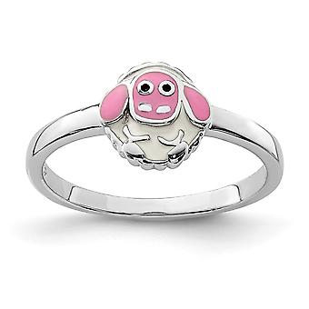 925 Sterling Silver Rhodium plated for boys or girls Enameled Lamb Ring - Ring Size: 3 to 4