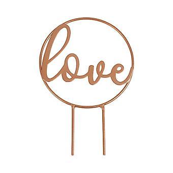 Rose Gold Botanical Wedding Cake Topper - Love Hoop Cake Topper