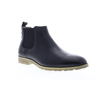 Zanzara Woody  Mens Black Leather Slip On Chelsea Boots Shoes