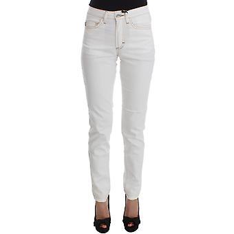 Cavalli White Cotton Blend Slim Fit Jeans