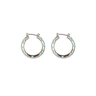 Blue Spot Gold Hoop Earrings