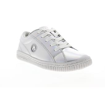 Airwalk Pearl  Womens Silver Gray Leather Lace Up Athletic Skate Shoes