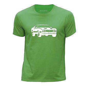 STUFF4 Boys rund hals T-Shirt/Stencil bil kunst / 73 Mach 1/grøn