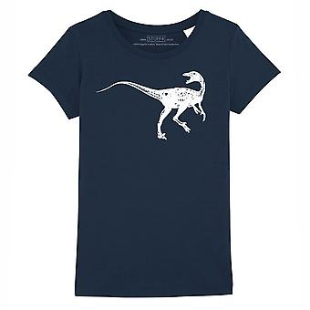 STUFF4 Girl's Round Neck T-Shirt/Dinosaur/Troodon/Navy Blue
