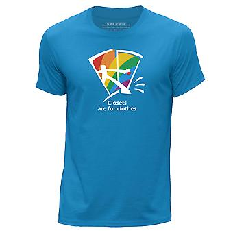 STUFF4 Men's Round Neck T-Shirt/Closets Are For Clothes/Gay Pride/Blue