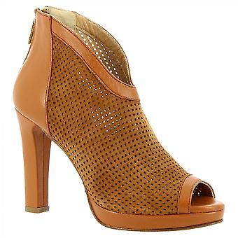 Leonardo Shoes Women-apos;s talons faits à la main bottes de cheville orteil tan daim openwork