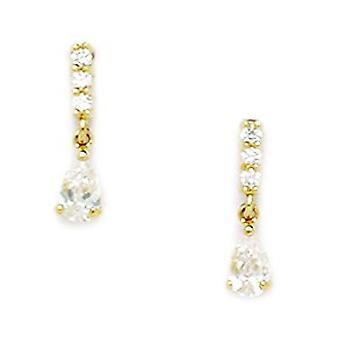 14k Yellow Gold CZ Cubic Zirconia Simulated Diamond Pear Shaped Drop Screw back Earrings Measures 13x3mm Jewelry Gifts f