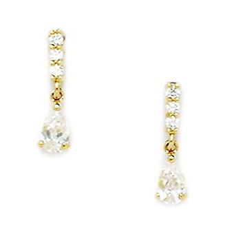14k Yellow Gold CZ Cubic Zirconia Gesimuleerde Diamond Peer Shaped Drop Screw terug Oorbellen maatregelen 13x3mm sieraden geschenken f