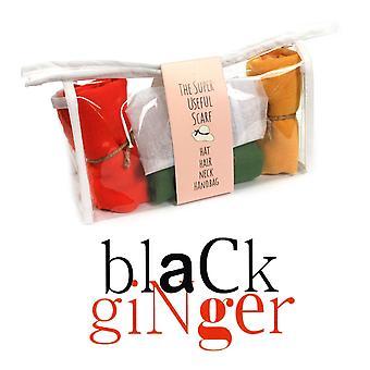 Black Ginger Three Scarf Gift Set in Presentation Pack