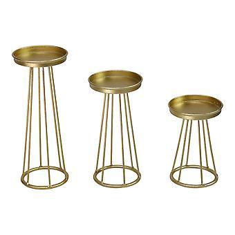 Set of 3 Gold Metal Soho Candlestick