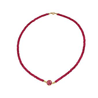 GEMSHINE Necklace Choker Ruby and Carnelian RED in 925 Silver or Gilded