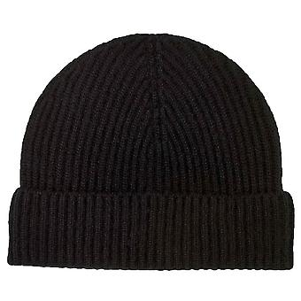 Johnstons of Elgin Full Cardigan Stitch Hat - Black