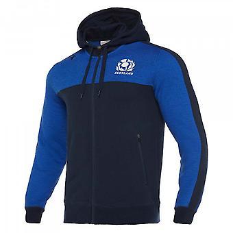 2019-2020 Skottland macron Rugby tung bomull full zip Hoody (blå)