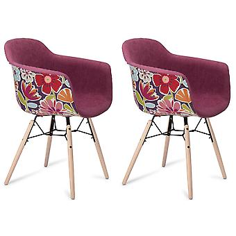 Furnhouse Flame Dining Chair, Pink/Violet, Black Legs, 59x57x80 cm, Set of 2