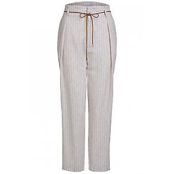 Oui White & Beige Striped Trousers