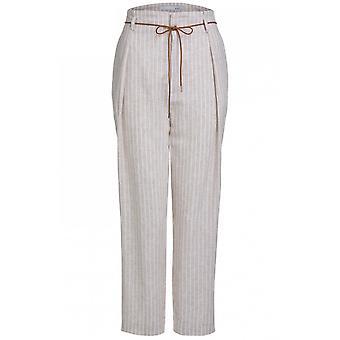 Oui Hvid og Beige stribede bukser