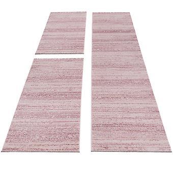 Carpet Bed Border Short Flower Set Rugs Monochrome Runner Bedroom Pink