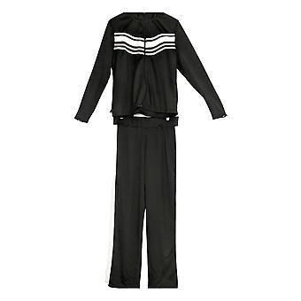 K Jordan Women's Long Sleeves Top & Pants Striped Track 2 Piece Set Black