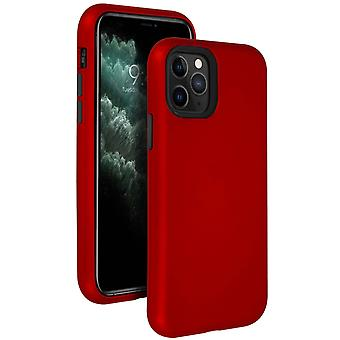 Dwu-materiał shockproof case for Apple iPhone 11 Pro Max Raised Edges- Czerwony