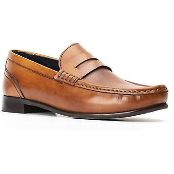Basis Londen Mens Cassio Gewassen Slip On Shoe Tan