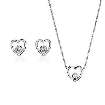 Orphelia Silver 925 Pendant and chain 45cm -Earring  Heart with Zirconium