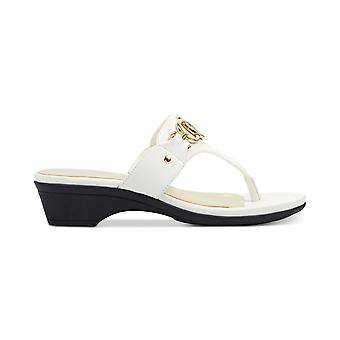 Marc Fisher Womens Ariana Leather Split Toe Casual Slide Sandals