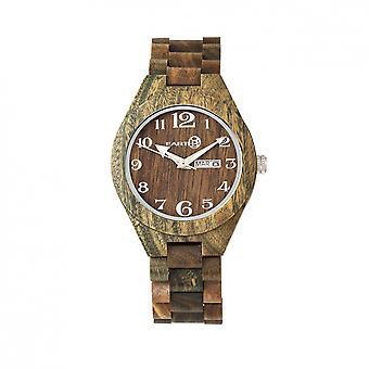 Earth Wood Sapwood Bracelet Watch w/Date - Olive