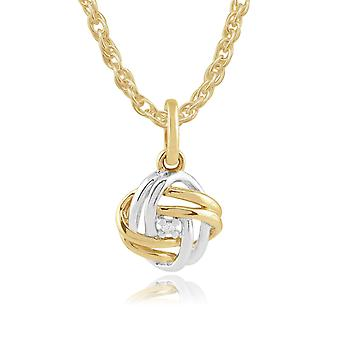 Classic Round Diamond Love Knot Pendant Necklace in 9ct Yellow & White Gold 191P0693019