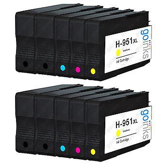 2 kompatible sæt med 4 + ekstra sort HP 950 og 951 (HP 950XL og 951XL) printerblækpatroner