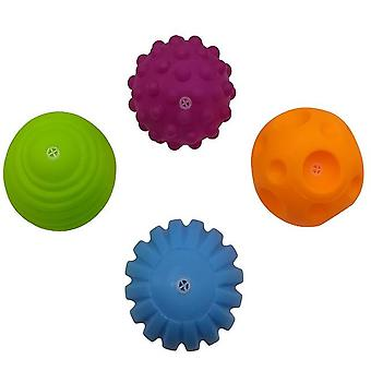 Baby Rubber Hand Ball Toys -textured Touch Ball For Sensory Fun Bath Time Type - Tj019 4pcs