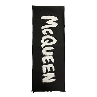 Alexander Mcqueen 6253874906q1078 Uomini's Sciarpa di lana nera