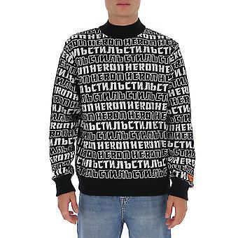 Heron Preston Hmhf001f20kni0021001 Men's White/black Cotton Sweatshirt