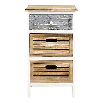 Tiroir confort Rebecca Furniture 3 Tiroirs en bois gris Shabby 65x36.7x28.8