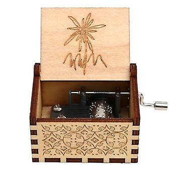Edelweiss Engrave Handmade 18 Notes Wooden Music Box For Christmas Birthday Gifts