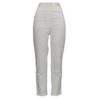 Isaac Mizrahi Live! Frauen's Hose gebürstet Sateen Pull-On Weiß A289624