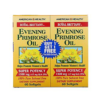 American Health, Royal Brittany, Evening Primrose Oil, 1300 mg, 2 Bottles, 60 So