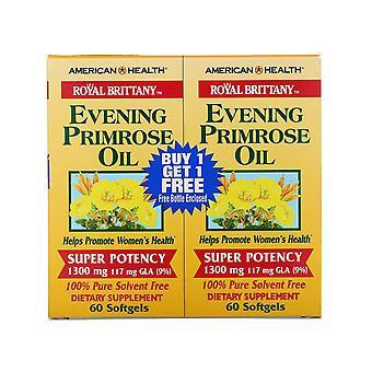 American Health, Royal Brittany, Aceite de onagra, 1300 mg, 2 botellas, 60 So