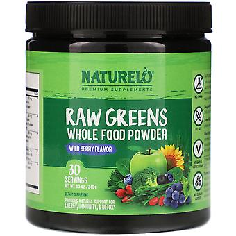 NATURELO, Raw Greens, Whole Food Powder, Wild Berry Flavor, 8.5 oz (240 g)