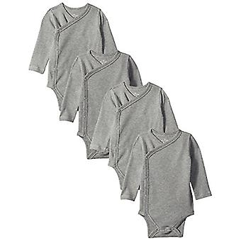 Moon and Back Baby Set Of 4 Organic Long-Sleeve Side-Snap Bodysuits, Solid Gr...