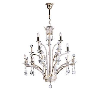 Lustre de pendentif de plafond grand 12 Français d'or, cristal (article exige l'assemblage)
