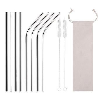 Reusable High Quality Drinking Straw Stainless Steel Colorful Metal With Cleaning Brush For Mugs