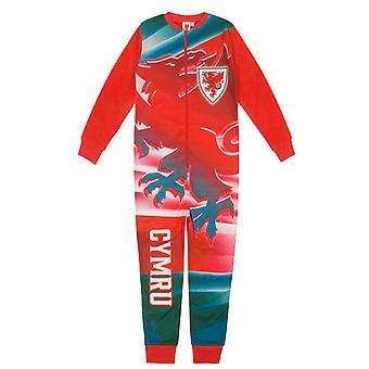 Pays de Galles Cymru FAW Officiel Football Gift Boys Kids Fleece All-In-One Pyjamas