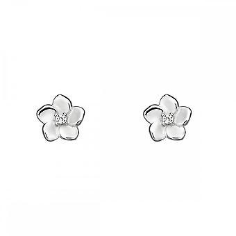 Elementos prata 3D flor de cerejeira com cz centro brincos e5731c