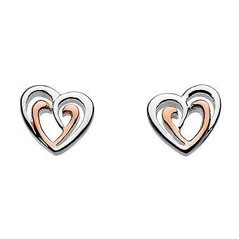 Dew Silver Amena Double Heart Rose Gold Plate Earrings 4493RG016