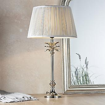 Table Lamp Polished Nickel Plate & Silver Silk 1 Light IP20 - E27