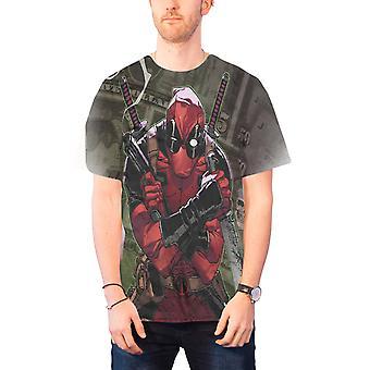 Deadpool T Shirt Mens Deadpool Cash new Official Marvel comics slim fit sub dye
