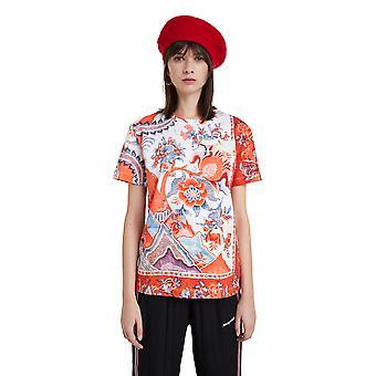 Desigual Selmaris Red & White Oriental Flower T-shirt 20WWTKB8