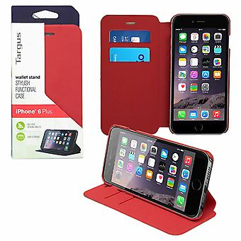 Targus Flip Leather Wallet Stand 2 Card Slot Case for iPhone 6, Red