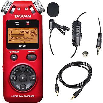 Tascam dr-05 bärbara handhållna digital ljudinspelare (röd) med deluxe acces ...